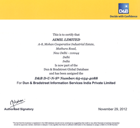 D&B D-U-N-S Certification – aimil.com