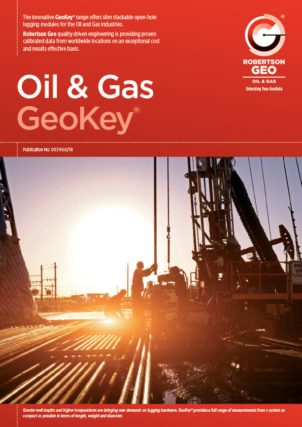 Oil & Gas Brochure includes Geokey Surface Acquisition System, Telemetry (GTM), Litho-Density (GLD), Compensated Neutron (GCN), Dual Laterolog (GDL), Dual Induction (GDI), Litho-Density (GLD), Micro-Resistivity (GMR), Compensated Sonic (GSC), Spectral Gamma Ray (GSG)