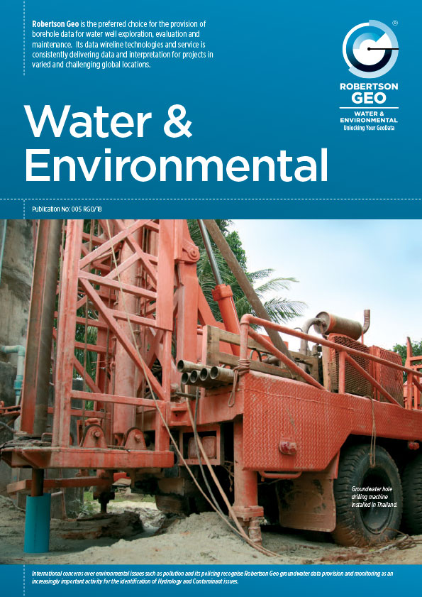 Water & Environmental Brochure includes  Surface Equipment: Winlogger Software, Micrologger2, Mini Winch, Probes: Electric Log, Temperature Conductivity, Geokey: Open Hole Logging System, Dual Induction GDI, Full Waveform Sonic, 3-Arm Caliper , Impeller Flowmeter, Water Quality, Dual Neutron, Formation Density, Density Guard log, Iron Ore Density